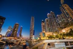 迪拜小游艇船坞陈列地平线视图  库存图片