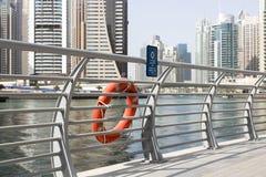 迪拜小游艇船坞,主要运河的全景 免版税图库摄影