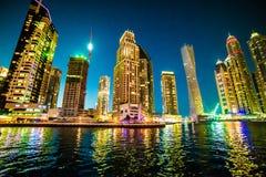 迪拜小游艇船坞 库存图片