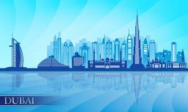 迪拜市地平线详细的剪影 免版税库存图片