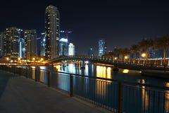 迪拜晚上场面 库存照片
