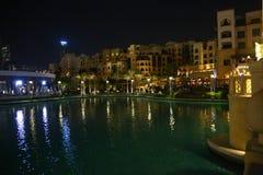 迪拜晚上视图 免版税图库摄影