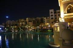 迪拜晚上视图 免版税库存图片