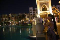 迪拜晚上视图 免版税库存照片