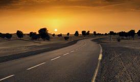 迪拜沙漠路 免版税图库摄影