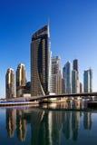 迪拜海滨广场和JBR视图  库存照片