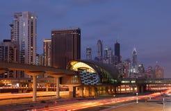 迪拜海滨广场地铁车站 免版税图库摄影