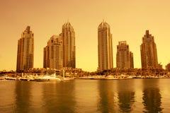 迪拜海滨广场日落 免版税库存图片