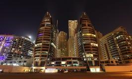 迪拜海滨广场晚上场面 库存图片