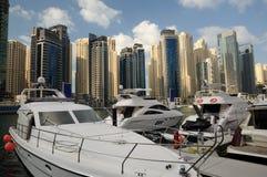 迪拜海滨广场游艇 免版税库存图片