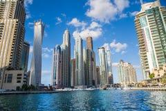 迪拜海滨广场都市风景,阿拉伯联合酋长国 图库摄影