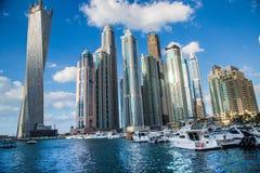 迪拜海滨广场都市风景,阿拉伯联合酋长国 免版税库存照片