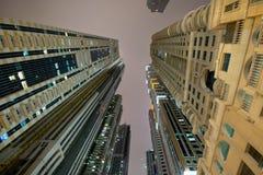 迪拜海滨广场晚上 库存图片
