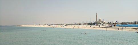 迪拜的全景,从海滩前 库存图片