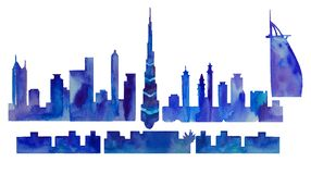 迪拜的水彩剪影 向量例证