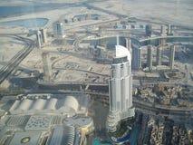 迪拜的看法从高度的 阿拉伯酋长管辖区团结了 库存照片