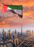 迪拜的都市风景有现代未来派建筑学的,阿联酋 免版税图库摄影