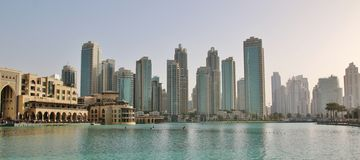 迪拜的财政部分的摩天大楼 免版税库存图片