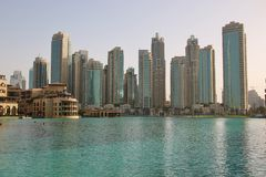 迪拜的财政部分的摩天大楼 库存照片