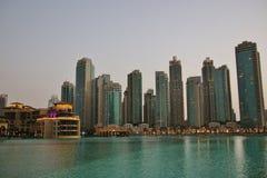迪拜的财政部分的摩天大楼 免版税库存照片