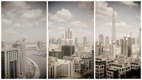 迪拜街市地平线鸟瞰图沿河的 免版税图库摄影