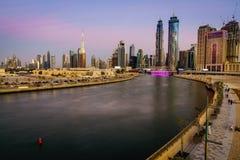 迪拜街市地平线 免版税库存照片