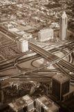 迪拜街市早晨场面 顶视图 免版税图库摄影