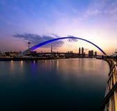 迪拜运河和迪拜地平线看法  库存图片