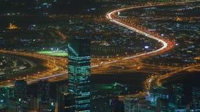 迪拜都市风景交通夜间流逝 平底锅 影视素材