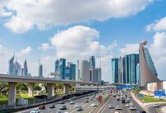 迪拜都市风景,从Zabeel公园的看法 免版税库存照片