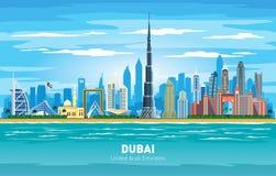 迪拜阿拉伯联合酋长国市地平线颜色传染媒介剪影 向量例证
