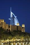 迪拜黄昏jumeirah madinat 图库摄影