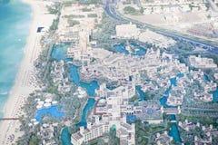 迪拜,阿拉伯联合酋长国。 Madinat旅馆从上面 库存照片