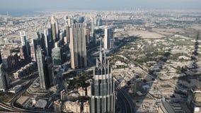 迪拜,阿拉伯联合酋长国的全景,自白天在实时 股票录像