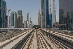 迪拜,阿拉伯联合酋长国的地铁系统 免版税库存照片