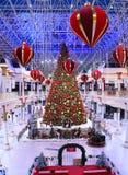 迪拜,阿拉伯联合酋长国-公寸10 :圣诞树和装饰在Wafi购物中心在迪拜,阿拉伯联合酋长国,如被看见在公寸10, 2017年 复合体 免版税图库摄影