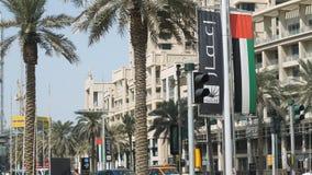 迪拜,阿拉伯联合酋长国- 2017年6月23日:迪拜,最大和最人口众多的城市街道和大厦团结的阿拉伯人的 免版税库存照片