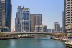 迪拜,阿拉伯联合酋长国- 2016年5月15日:区小游艇船坞视域  免版税库存照片