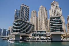 迪拜,阿拉伯联合酋长国- 2016年5月15日:区小游艇船坞视域  库存图片