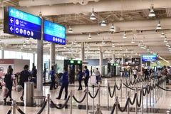 迪拜,阿拉伯联合酋长国- 4月10日 2018年 第二个终端内部在机场 免版税库存图片