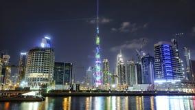 迪拜,阿拉伯联合酋长国- 1月07,2018 :街市夏夜地平线 平底锅 图库摄影