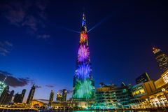 迪拜,阿联酋- 2018年1月05日, :Burj哈利法塔 这个摩天大楼是最高的人造结构 图库摄影