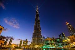 迪拜,阿联酋- 2018年1月05日, :Burj哈利法塔 这个摩天大楼是最高的人造结构 免版税库存照片