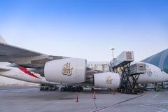 迪拜,阿联酋- 2018年4月11日-酋长管辖区航空公司A 免版税库存图片