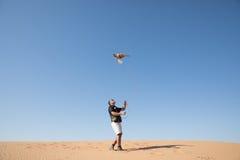 迪拜,阿联酋- 2016年12月2日 在猎鹰训练术训练期间的一只猎鹰在捉住诱剂的沙漠 免版税库存照片