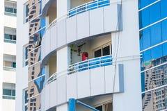迪拜, UAE-JANUARY 15 :摩天大楼在1月的市中心 免版税库存图片