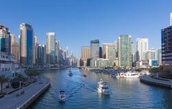 迪拜-小游艇船坞散步  免版税库存照片