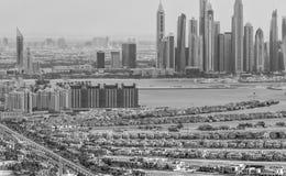 迪拜- 2016年11月:从直升机的空中城市视图 迪拜我 免版税库存图片