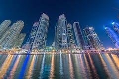 迪拜- 2015年1月10日:小游艇船坞区 库存照片
