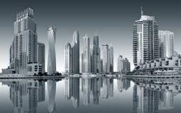 迪拜-迪拜小游艇船坞的区域的看法 免版税库存图片